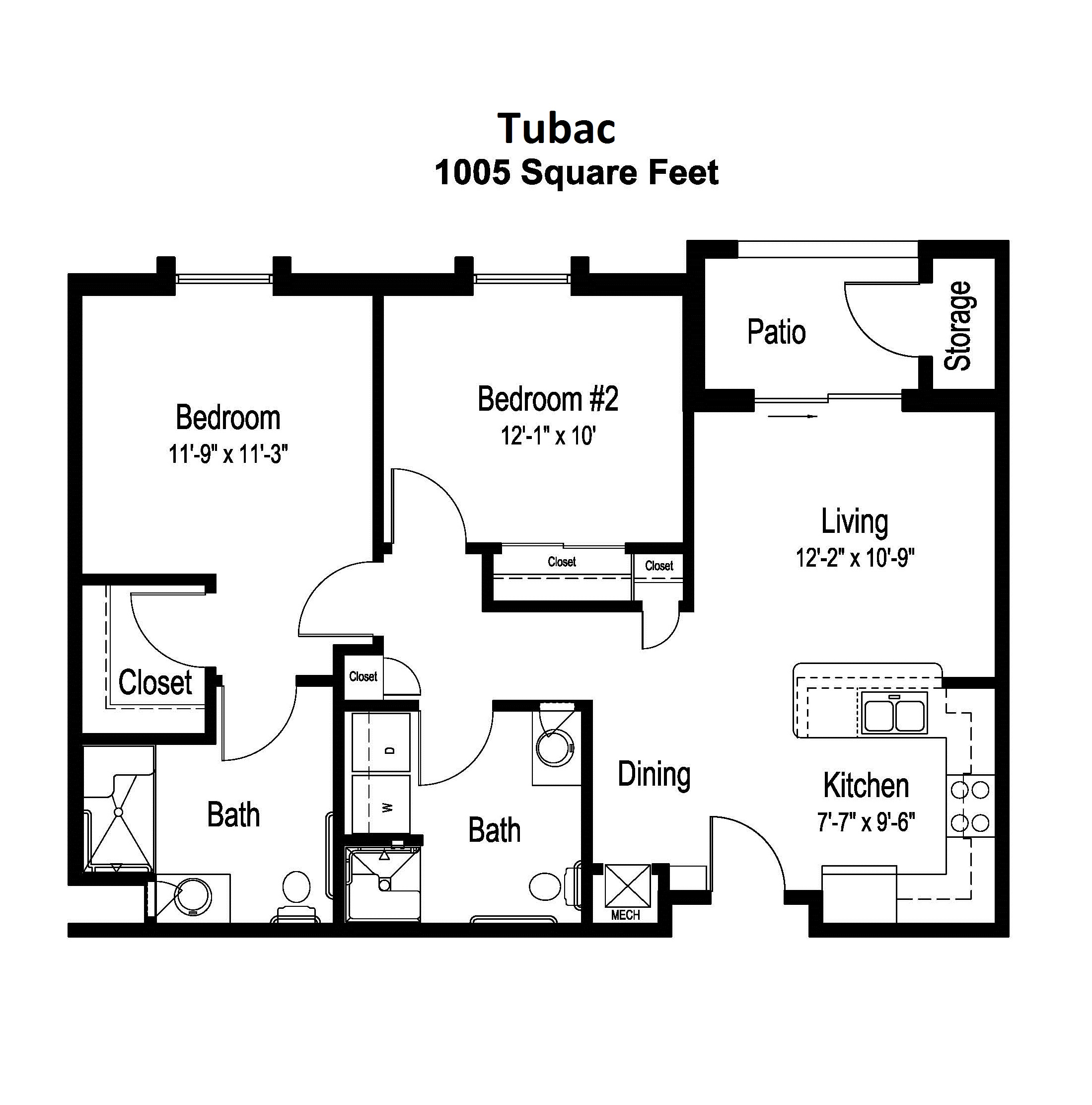 Tubac Independent Living floor plan for 2 bedroom/2 bathroom apartment for seniors