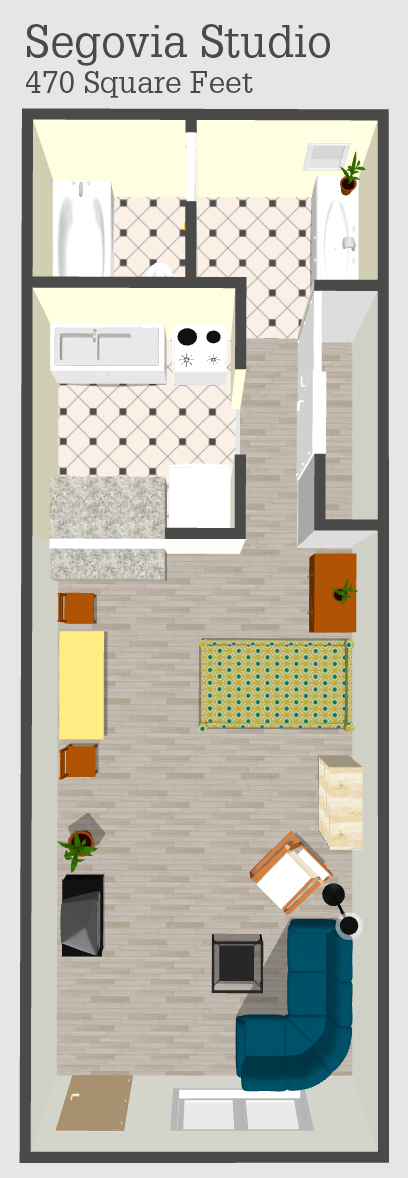 Segovia Studio Apartment Floor Plan
