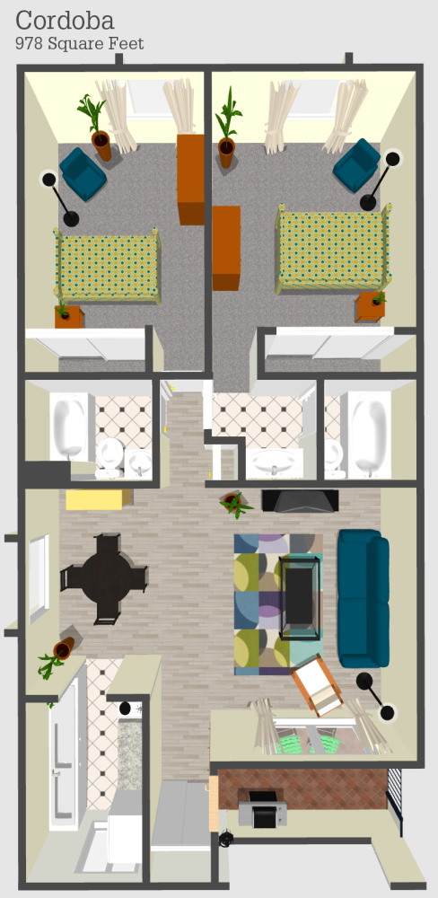 Cordoba 1 Apartment Floor Plan