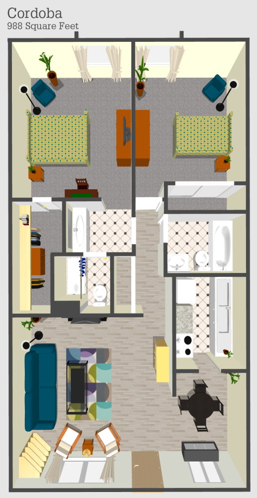 Cordoba 2 Apartment Floor Plan