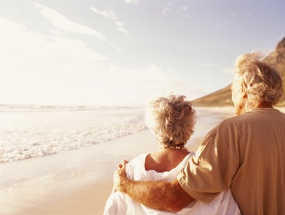 Elderly couple on the beach