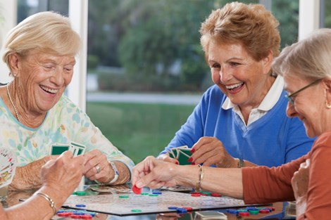 Elderly women playing games