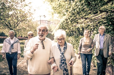 Elderly couples walking