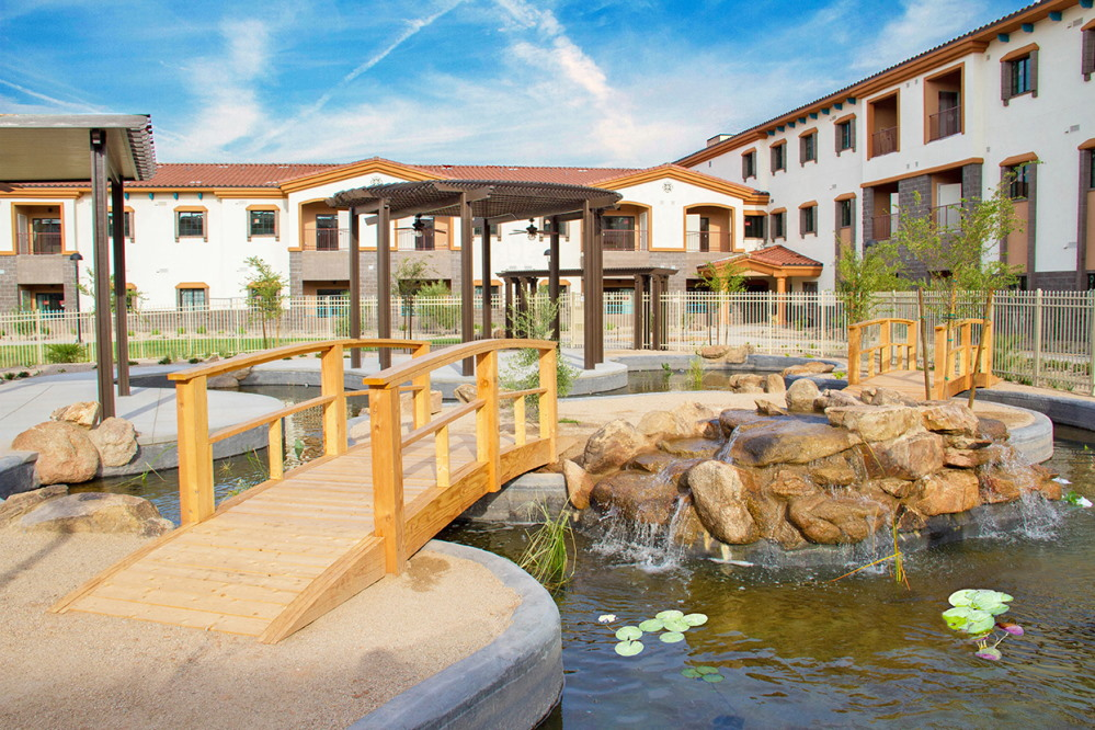 A retreat for residents, the koi pond at Fellowship Square Surprise