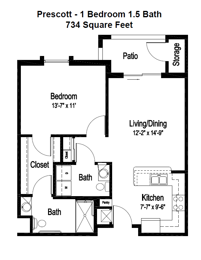 Independent Living Floor Plan, Prescott, as of Spring 2019 at Fellowship Square Surprise, AZ