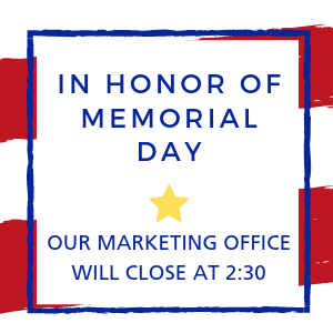 Memorial Day offices close at 2:30