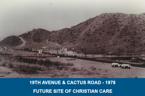 Photo of vacant lot, 1978 before construction of Christian Care Nursing Center