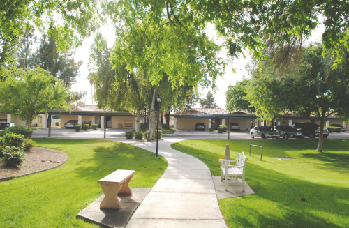 View of senior living casitas, trees and grass