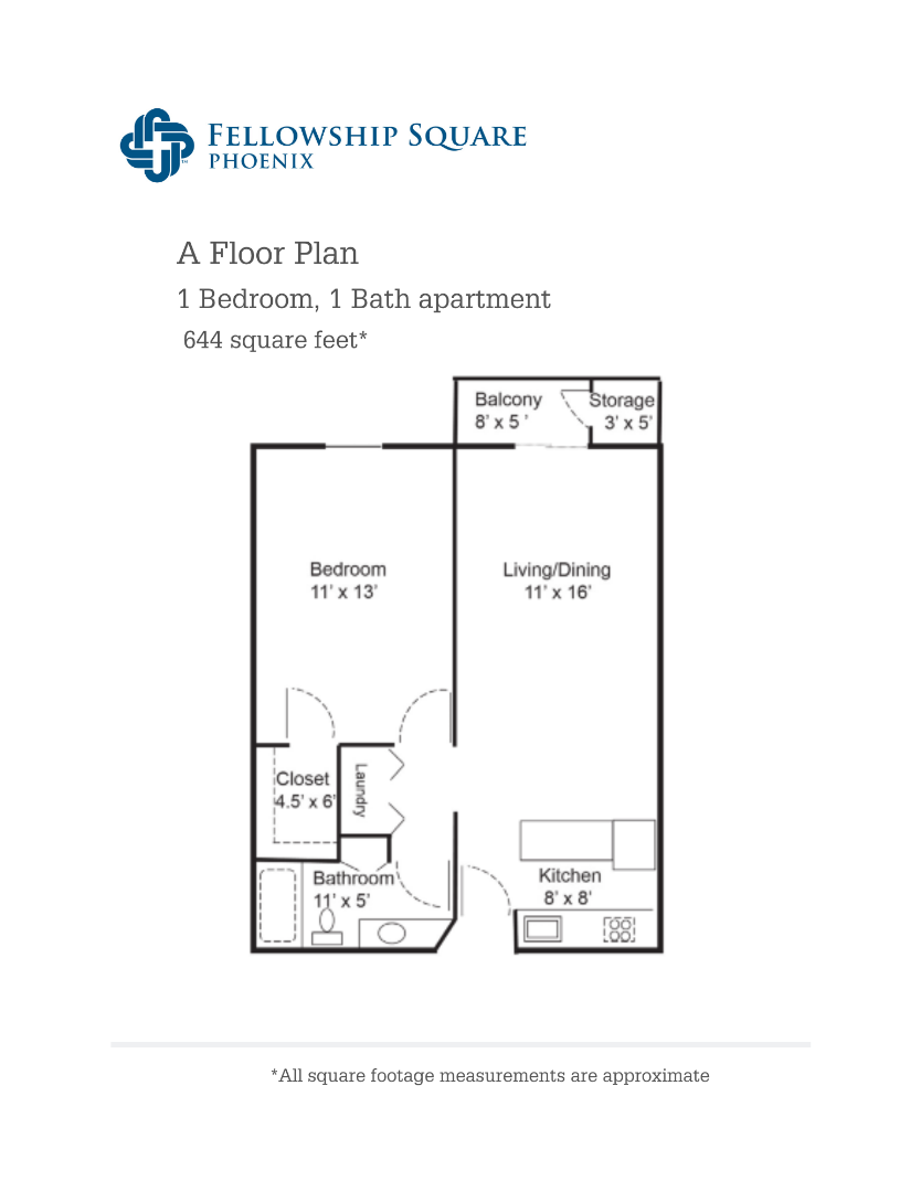 A Floor plan 644 square feet