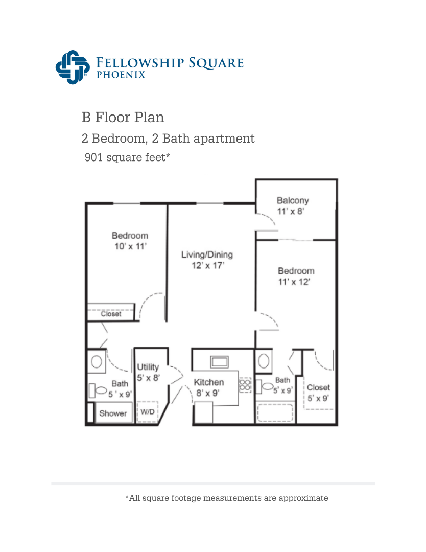 B Floor Plan 901 square feet