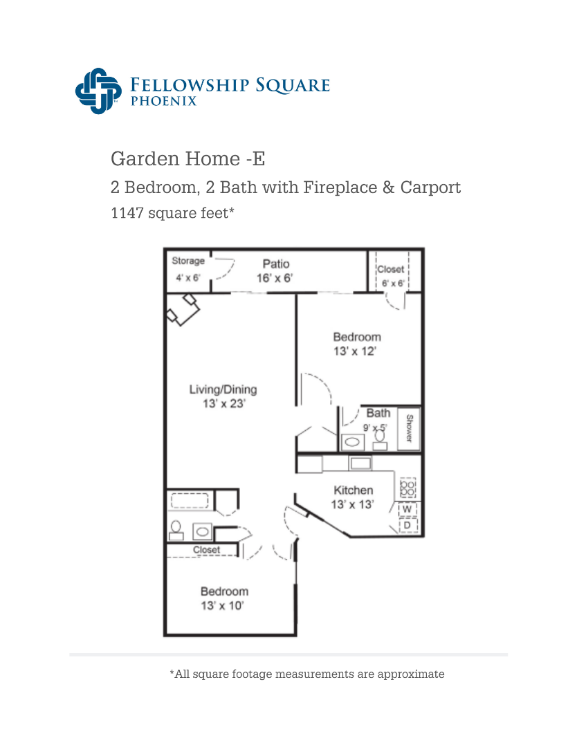 E Floor plan 1147 square feet