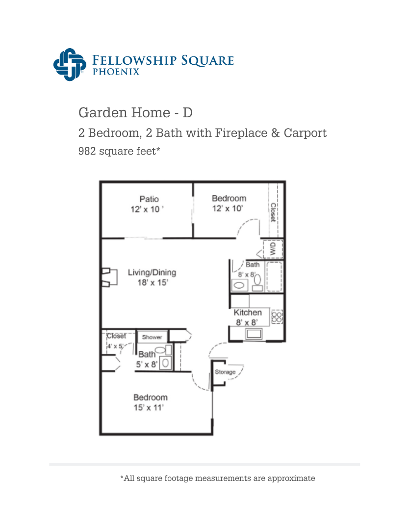 D floor plan 982 square feet