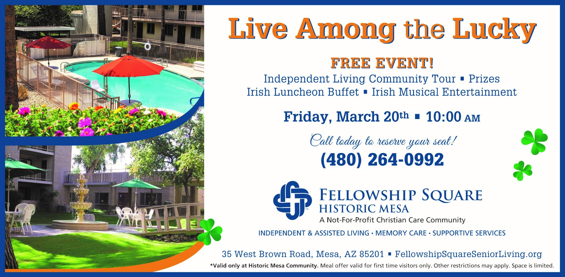 Flyer for independent living event at Fellowship Square Historic Mesa - Free to the community on March 20, 2020