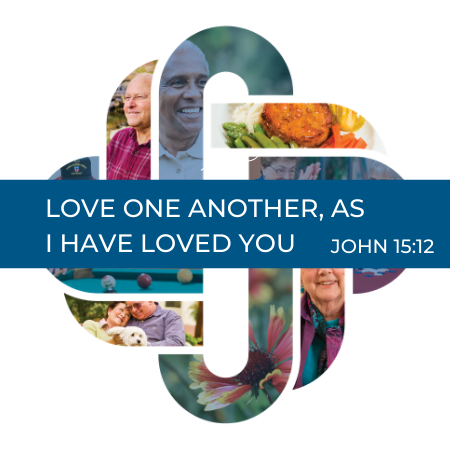 Living logo with Scripture, Love one another as I have loved you. John 15:12