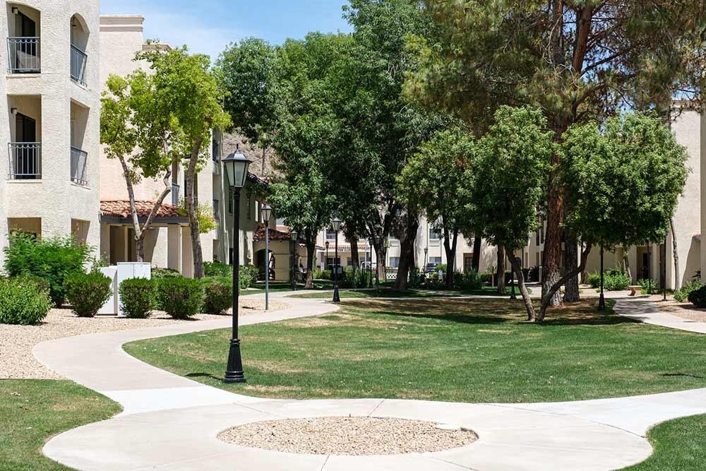 South courtyard at retirement living community Fellowship Square Phoenix